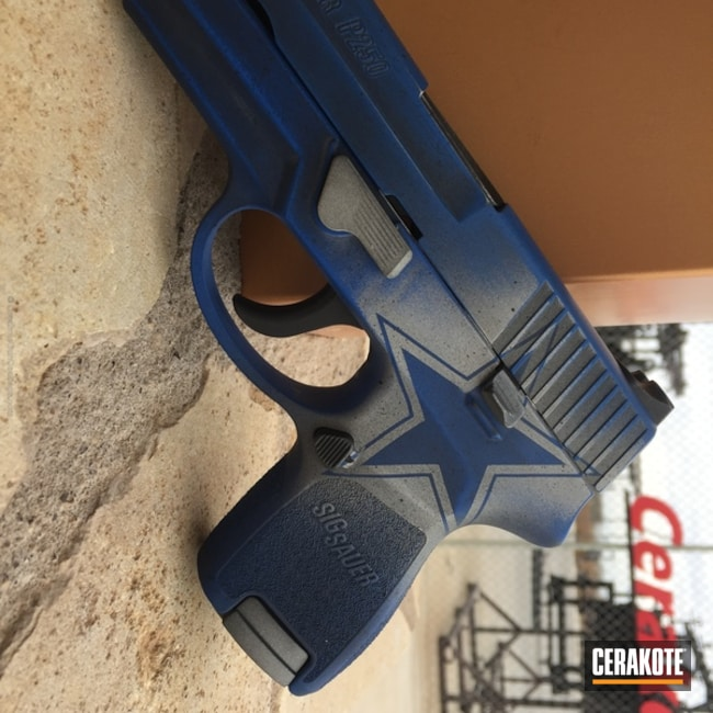 Sports Themed Sig Sauer Handgun coated in Crushed Silver, Graphite Black and NRA Blue