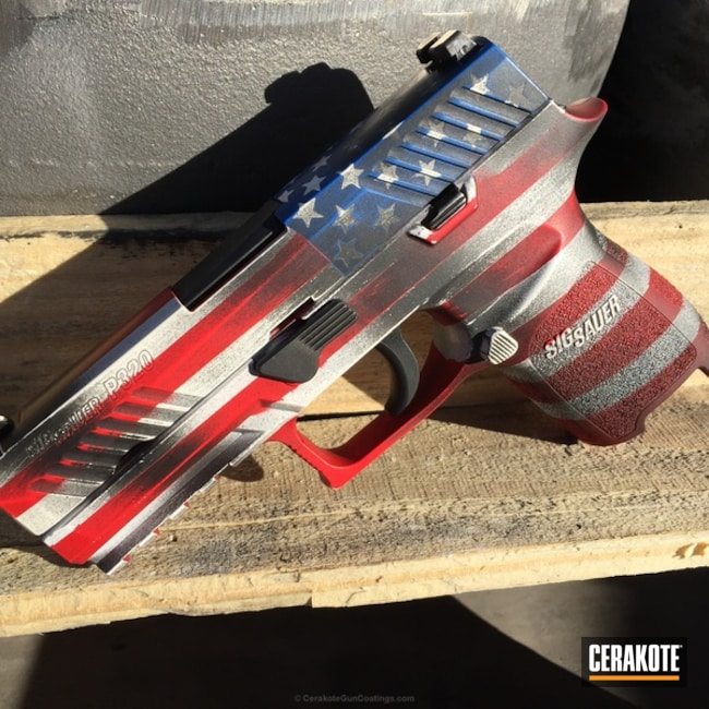 Sig Sauer P320 coated in an American Flag Theme
