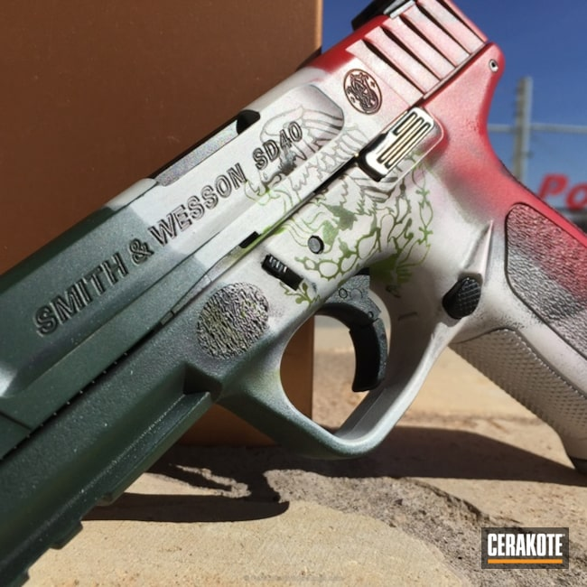 Smith & Wesson Handgun coated in a Flag of Mexico Theme