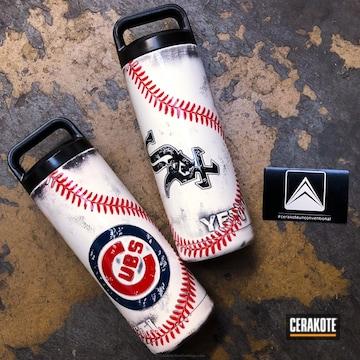 Cerakoted Custom Yeti Cups Done In A Baseball Themed Finish