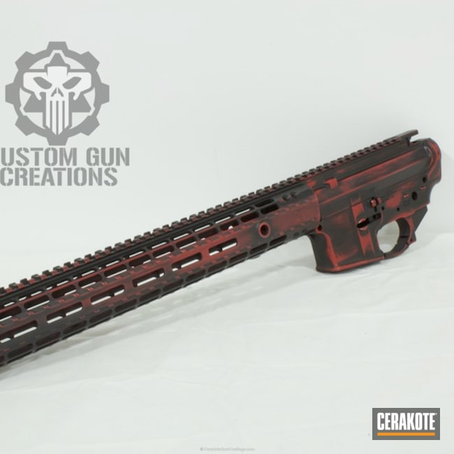 Aero Precision Rifle Build finished in H-146 Graphite Black and H-216 Smith & Wesson Red