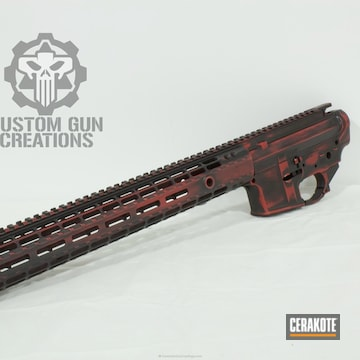 Cerakoted Aero Precision Rifle Build Finished In H-146 Graphite Black And H-216 Smith & Wesson Red