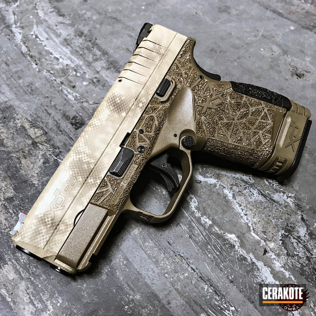 Springfield XD finished in H-199 Desert Sand and H-226 Patriot Brown