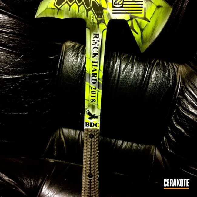 Custom Tomahawk coated in Zombie Green, Satin Aluminum and Graphite Black