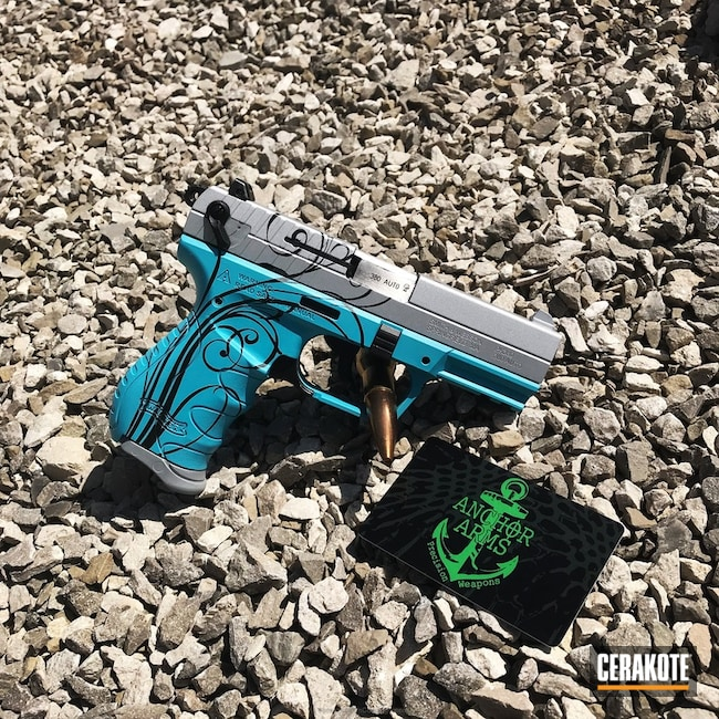 Smith & Wesson Handgun done in H-146 Graphite Black, H-175 Robin's Egg Blue and H-255 Crushed Silver
