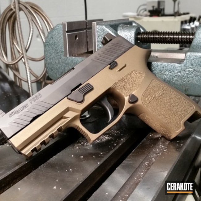 Smaller version of the 1st project picture. Sig Sauer, Two Tone, Pistol, Burnt Bronze H-148Q, Sig Sauer P320
