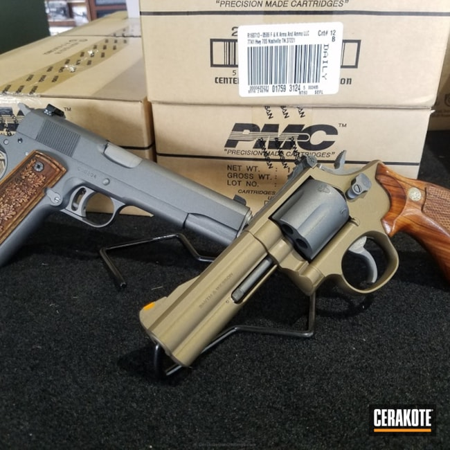 Handguns coated in H-148 Burnt Bronze and H-237 Tungsten