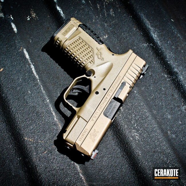 Springfield XD Handgun coated in H-148 Burnt Bronze