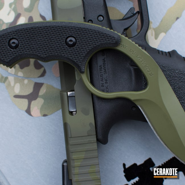 Matching Colonel Blade and Glock Handgun done in MagPul Foliage Green, Noveske Bazooka Green and O.D. Green