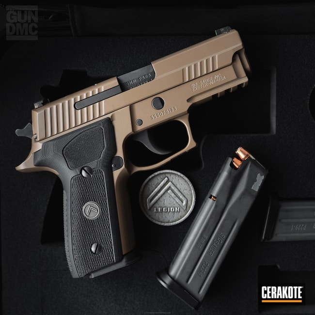 Sig Sauer Handgun coated in a H-235 Coyote Tan Finish