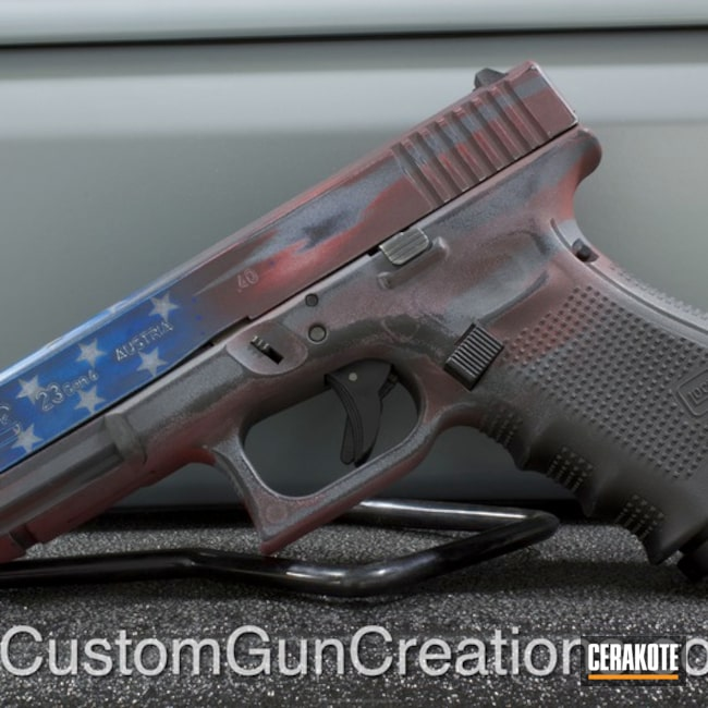 Glock 23 Handgun done in a Custom American Flag Themed Finish