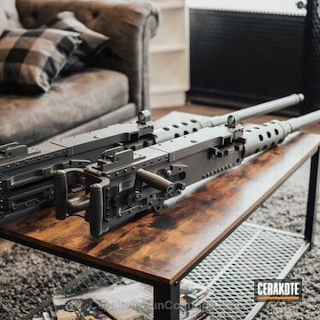 Cerakoted .50  Cal Machine Guns Refinished In H-139 Steel Grey And E-160 Concrete