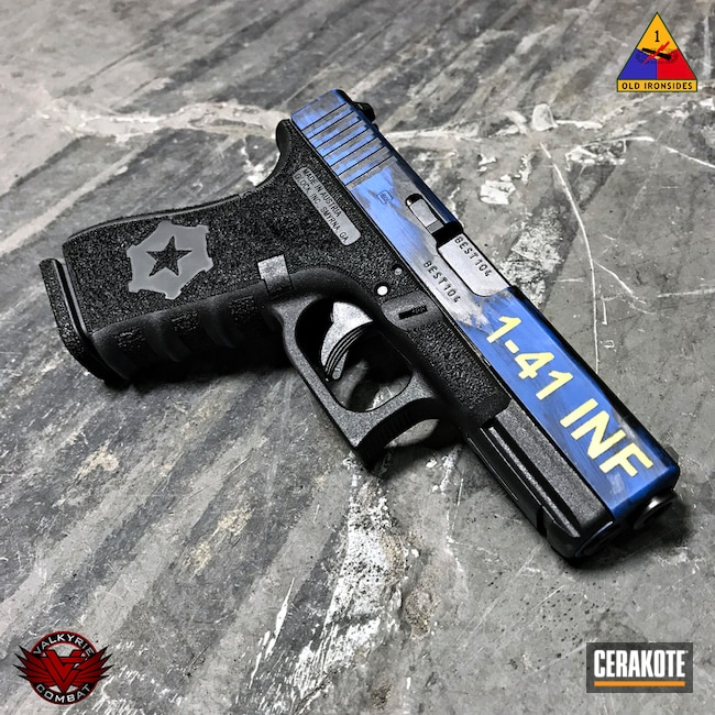 Glock 19 Handgun in a Battleworn Cerakote Finish