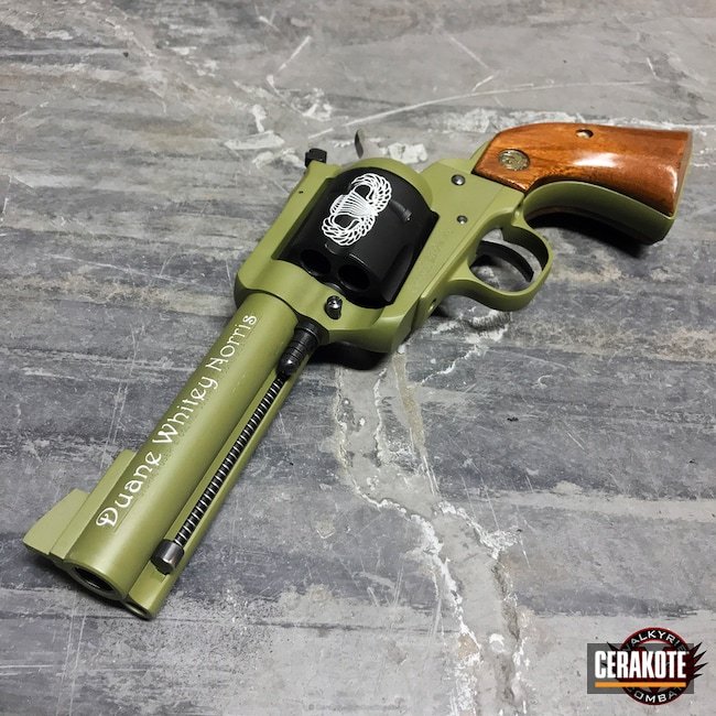 Ruger Revolver done in a Custom US Army Cerakote Finish