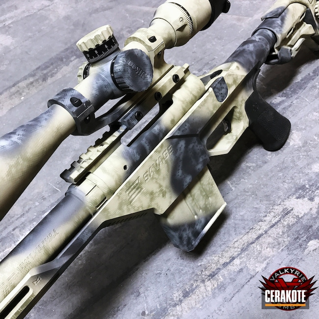 Savage Rifle and Optics coated in a Custom Camo