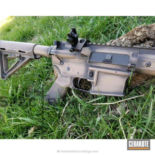 Tactical Rifle in a Distressed H-146 Graphite Black and H-267 MagPul Flat Dark Earth