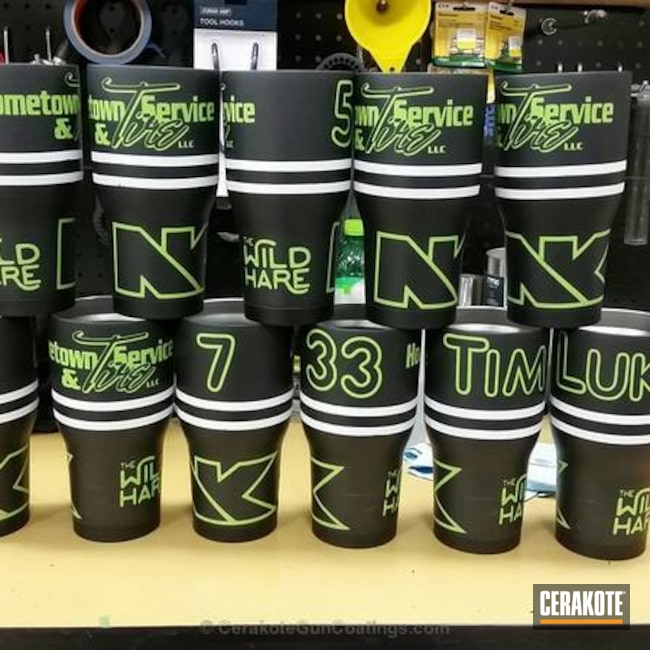 Personalized Tumbler Cups coated in Graphite Black, Zombie Green and Hidden White