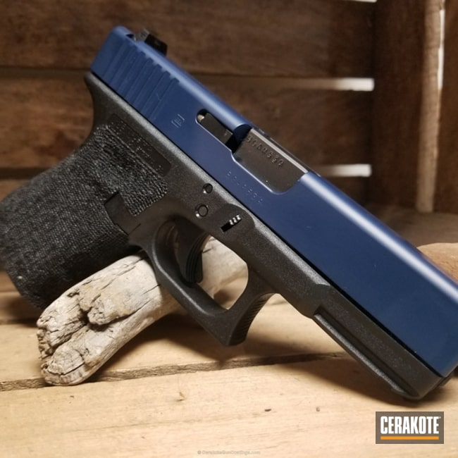 Glock 19 Handgun coated in H-127 Kel-Tec Navy Blue