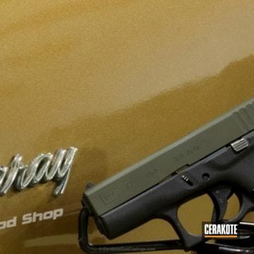 Cerakoted Glock 42 Handgun Coated In H-232 Magpul O.d. Green
