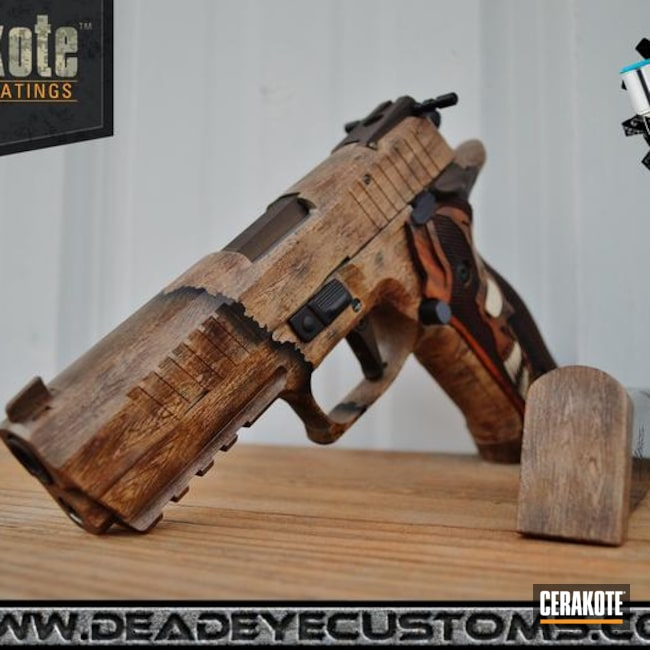 Multiple Cerakote Mixes used to create this Wood Finish