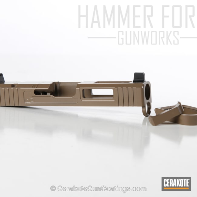 Cerakoted Glock Slide Coated In E-170 Coyote M17