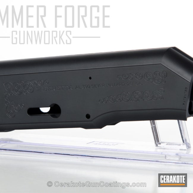 Shotgun Receiver coated in H-146 Graphite Black