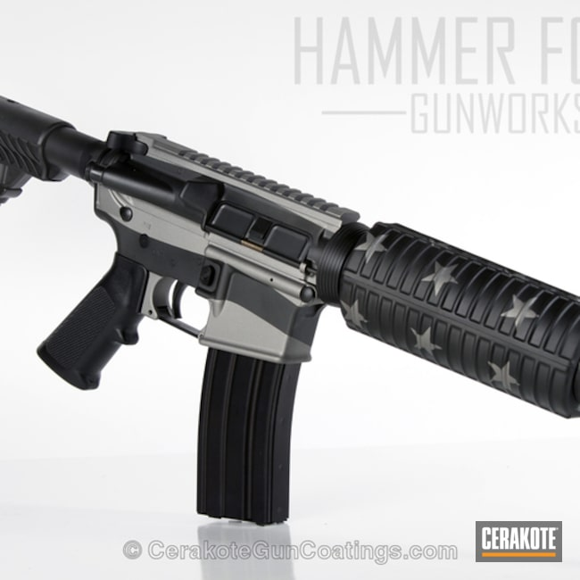 DPMS Panther Arms Rifle coated in H-146 Graphite Black and H-170 Titanium