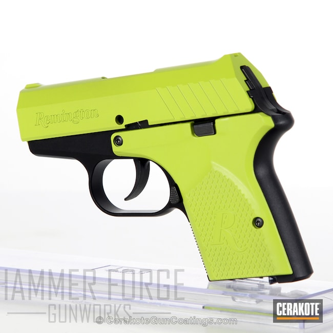 Remington .380 Handgun done in a Highlighter Yellow Finish