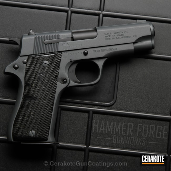 Star Arms Handgun coated in an Elite Sniper Grey Finish