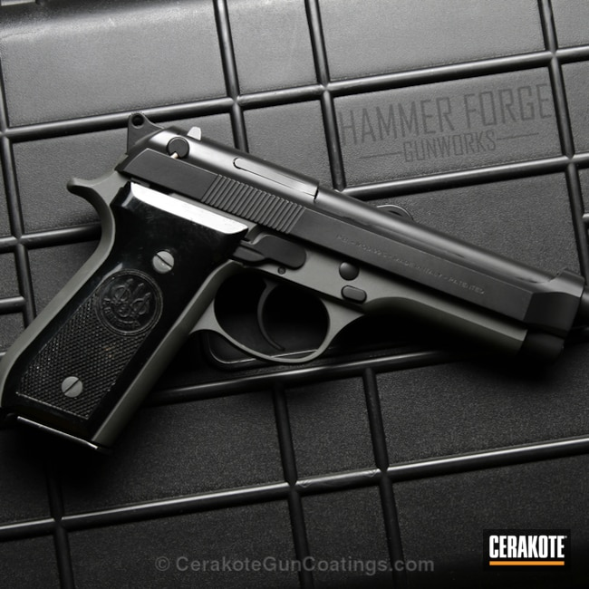 Beretta 92S Handgun coated in Graphite Black and Sig Dark Grey