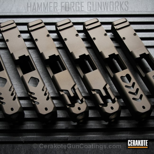 Glock Slides coated in H-294 Midnight Bronze
