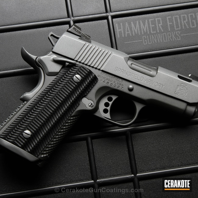 Springfield 1911 Handgun coated in an Elite Titanium Finish