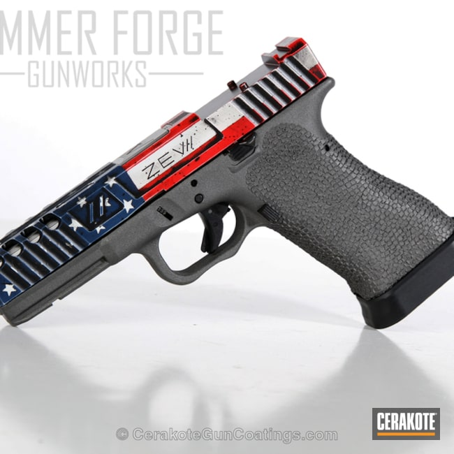 Custom Zev Glock 17 coated in an American Flag Finish