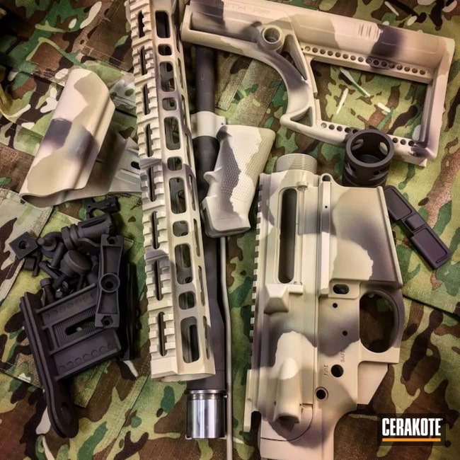 AR10 Gun Parts coated in a Custom MultiCam