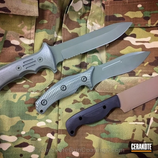 Custom Knives finished in Graphite Black, MagPul Flat Dark Earth and Jungle