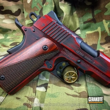 Cerakoted Kimber 1911 Handgun Done In A Two Toned Distressed Finish