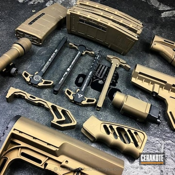 Cerakoted Rifle Parts Coated In H-148 Burnt Bronze