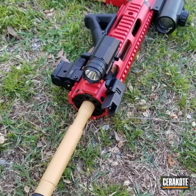 AR15 coated in USMC Red and Gold