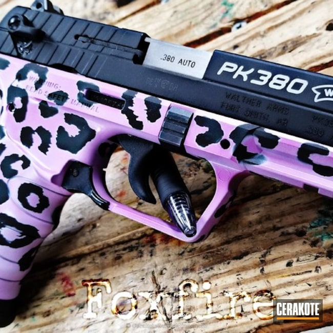 Mobile-friendly version of the 1st project picture. Graphite Black H-146Q, Walther, Pistol, Leopard Print, Ladies, Walther PK 380, Wild Purple H-197, Stormtrooper White H-297Q
