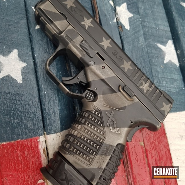 Cerakoted Springfield XD Handgun in an American Flag Finish