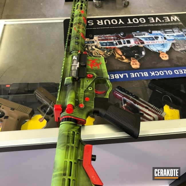 Tactical Rifle coated in H-146 Graphite Black, H-167 USMC Red and H-168 Zombie Green