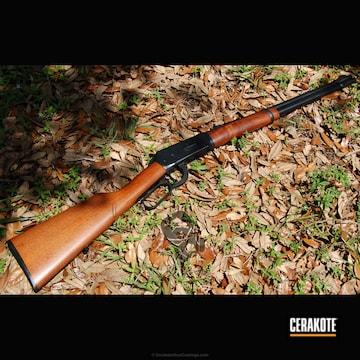 Cerakoted Winchester Lever Action Rifle In Cerakote H-146 Graphite Black