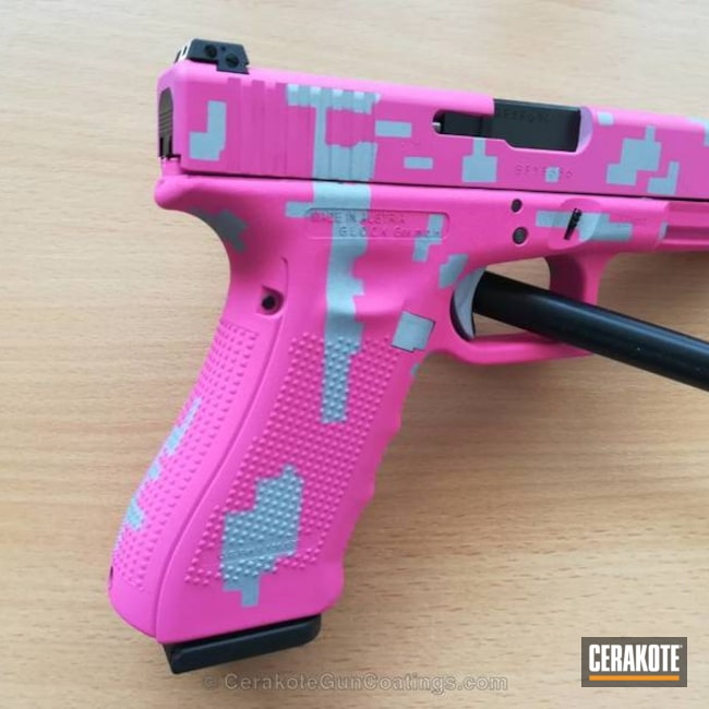 Smaller version of the 1st project picture. Glock, Glock 17, Pistol, Ladies, Digital Camo, Prison Pink H-141Q, Crushed Silver H-255Q
