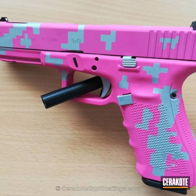 Mobile-friendly version of the 3rd project picture. Glock, Glock 17, Pistol, Ladies, Digital Camo, Prison Pink H-141Q, Crushed Silver H-255Q