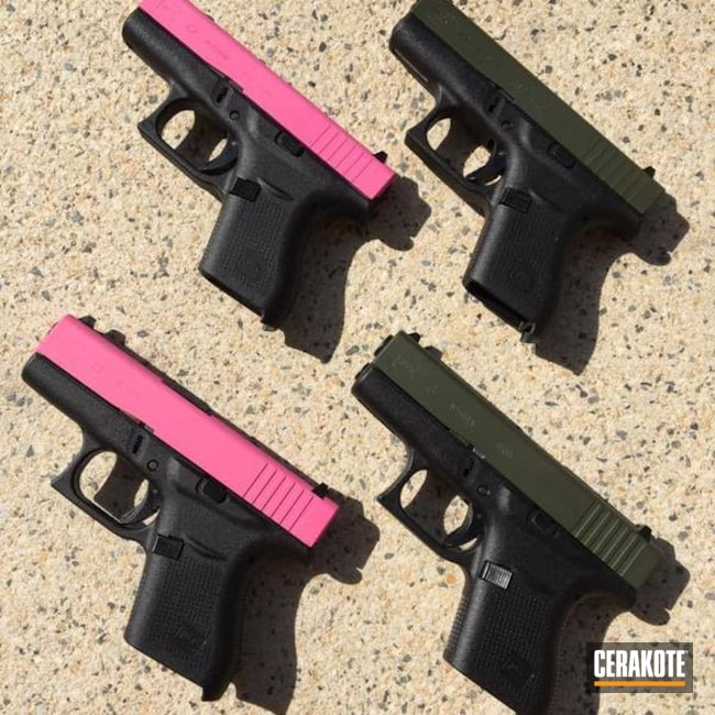 "Thumbnail image for project ""Glock Slides in Cerakote H-141 Prison Pink and H-229 Sniper Green"""