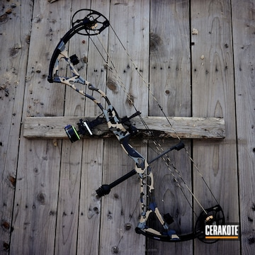 Cerakoted Bowtech Boss Bow With Cerakote Kuiu Camo Pattern