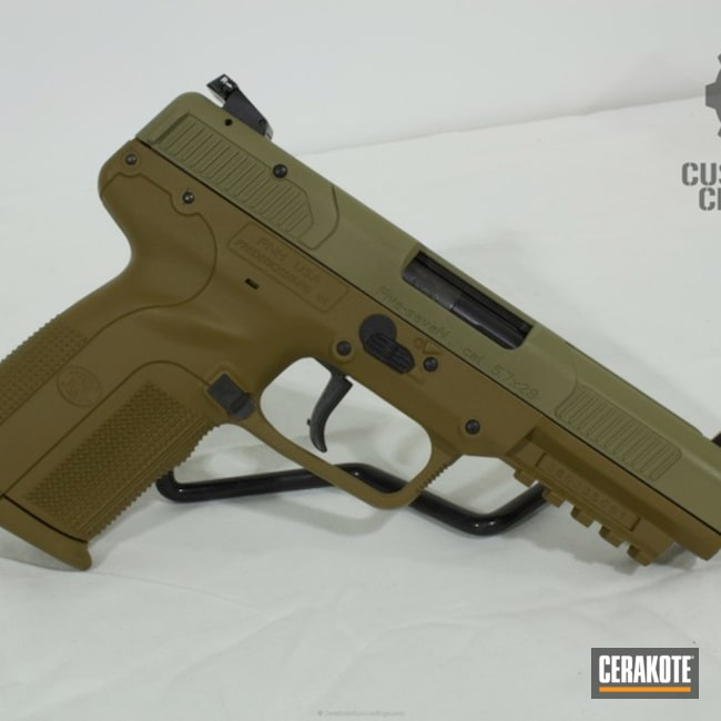 Two Toned FN Five-Seven Handgun in a A.I. Dark Earth and Coyote Tan Finish