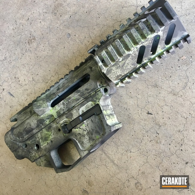 Upper / Lower / Handguard in a Custom Splatter Apocalypse Finish