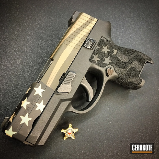 Sig Sauer Handgun in a Stars and Stripes Cerakote Finish