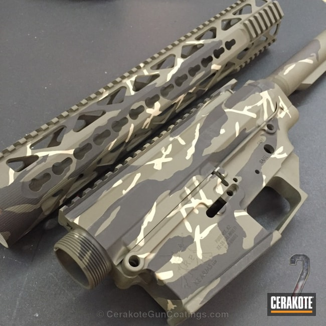 KE Arms Rifle in a Tiger Stripe Cerakote Finish